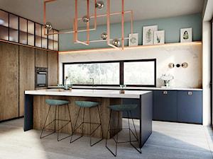Poznań - Mosina - Duża otwarta szara niebieska kuchnia w kształcie litery l z wyspą, styl nowoczesny - zdjęcie od razoo-architekci
