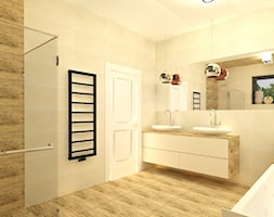 Projekt nowoczesnego domu - Duża beżowa łazienka na poddaszu w bloku w domu jednorodzinnym z oknem, styl nowoczesny - zdjęcie od Zagwozdki Twórcze