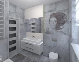 Projekt łazienki - Średnia biała szara łazienka z oknem, styl nowoczesny - zdjęcie od Nana Project Sp. z o.o.