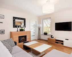 Nowoczesny Apartament dwupoziomowy - Średni beżowy salon, styl nowoczesny - zdjęcie od Apartments M&M- obsługa i aranżacja nieruchomości