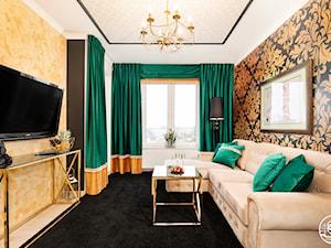 apartament turystyczny - Mały czarny żółty salon - zdjęcie od Apartments M&M- obsługa i aranżacja nieruchomości