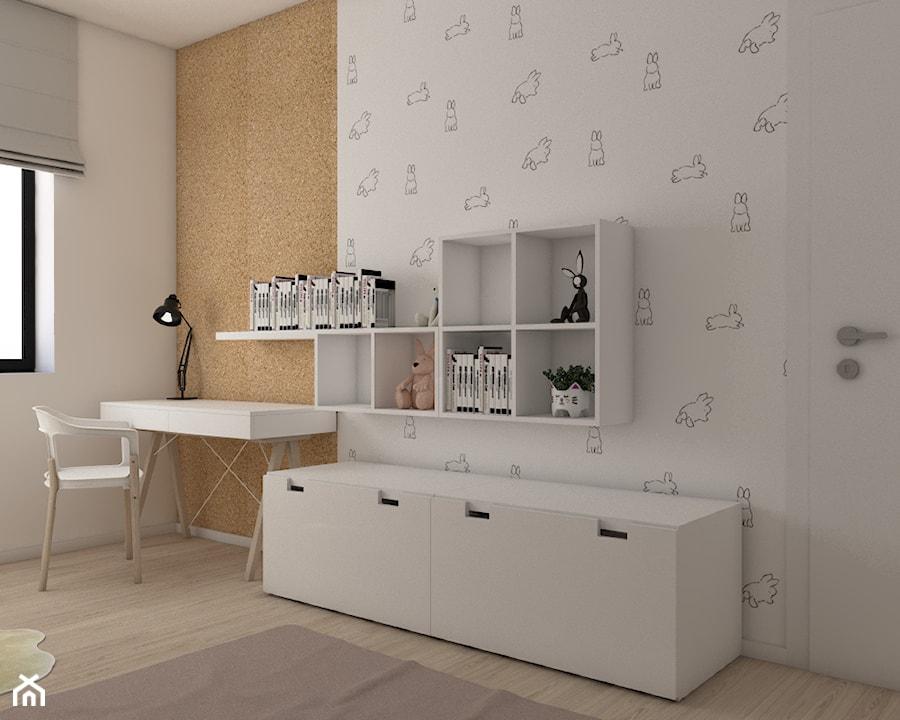 Dom pod Krakowem - Mały biały pomarańczowy pokój dziecka dla chłopca dla dziewczynki dla ucznia dla malucha dla nastolatka, styl skandynawski - zdjęcie od Pepe Interiors