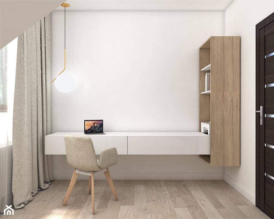 Dom pod Piasecznem - Małe białe biuro kącik do pracy na poddaszu, styl nowoczesny - zdjęcie od Pepe Interiors
