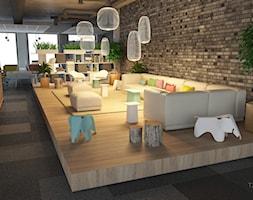 Projekt biura z firmy z branży IT - Duże szare biuro pracownia kącik do pracy w pokoju, styl nowoczesny - zdjęcie od T3 Atelier