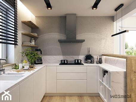 Aranżacje wnętrz - Kuchnia: Minimalistyczna kuchnia - Średnia otwarta biała szara kuchnia w kształcie litery u z oknem, styl no ... - WOSMEBL Rzeszów Meble na wymiar. Przeglądaj, dodawaj i zapisuj najlepsze zdjęcia, pomysły i inspiracje designerskie. W bazie mamy już prawie milion fotografii!