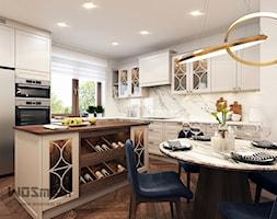 Klasyka w kuchni - Duża otwarta biała kuchnia w kształcie litery l z wyspą z oknem, styl klasyczny - zdjęcie od WOSMEBL Rzeszów Meble na wymiar - Homebook