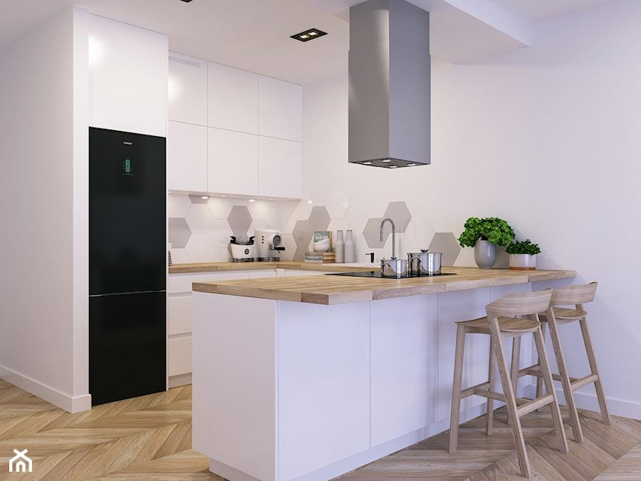 Kuchnia w bieli i drewnie - zdjęcie od WOSMEBL Rzeszów Meble na wymiar