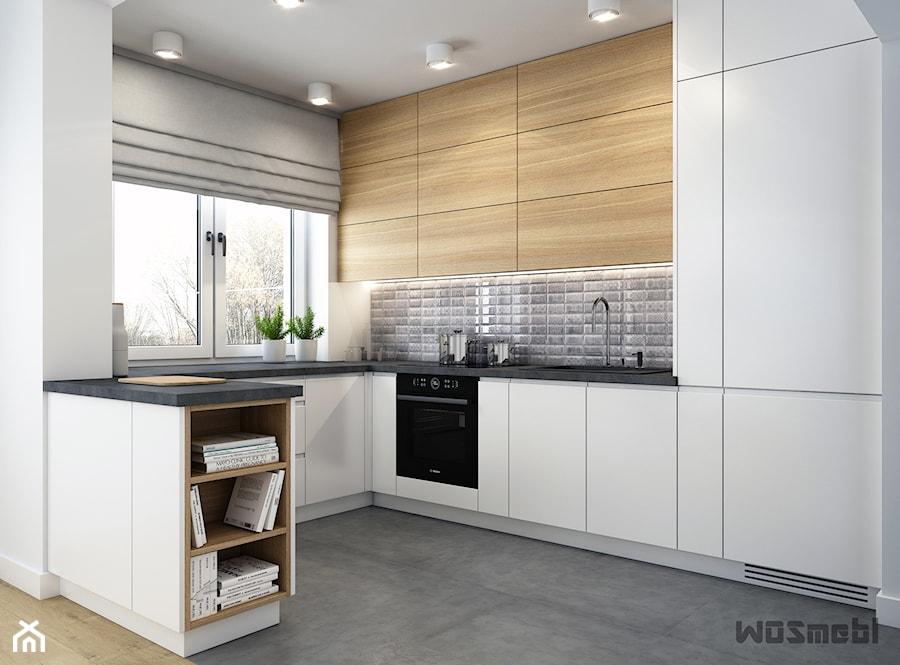 Nowoczesna kuchnia III - Mała otwarta wąska biała kuchnia w kształcie litery g w aneksie z oknem, styl skandynawski - zdjęcie od WOSMEBL Rzeszów Meble na wymiar