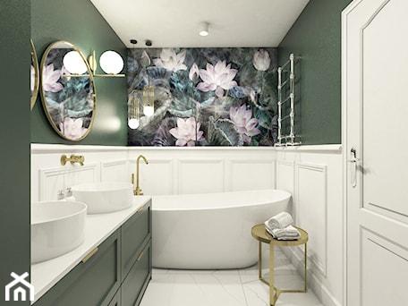 Aranżacje wnętrz - Łazienka: Dom w Wieliczce - Mała biała zielona łazienka w bloku w domu jednorodzinnym bez okna, styl glamour - Sylwia Sławek. Przeglądaj, dodawaj i zapisuj najlepsze zdjęcia, pomysły i inspiracje designerskie. W bazie mamy już prawie milion fotografii!