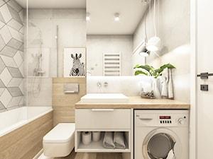 Mieszkanie na wynajem/Kraków - Mała szara łazienka w bloku w domu jednorodzinnym bez okna, styl skandynawski - zdjęcie od Sylwia Sławek