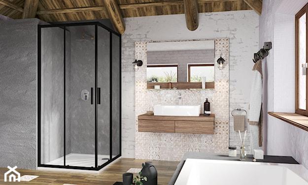 czarna kabina w łazience rustykalnej