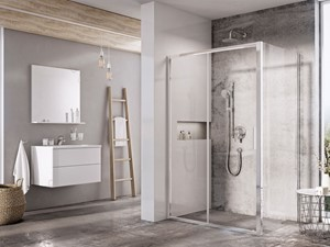 Kabiny prysznicowe - Średnia szara łazienka w bloku w domu jednorodzinnym z oknem, styl industrialny - zdjęcie od RAVAK