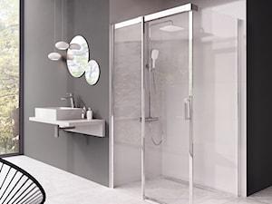 Kabiny prysznicowe - Duża czarna szara łazienka w bloku w domu jednorodzinnym z oknem, styl nowoczesny - zdjęcie od RAVAK