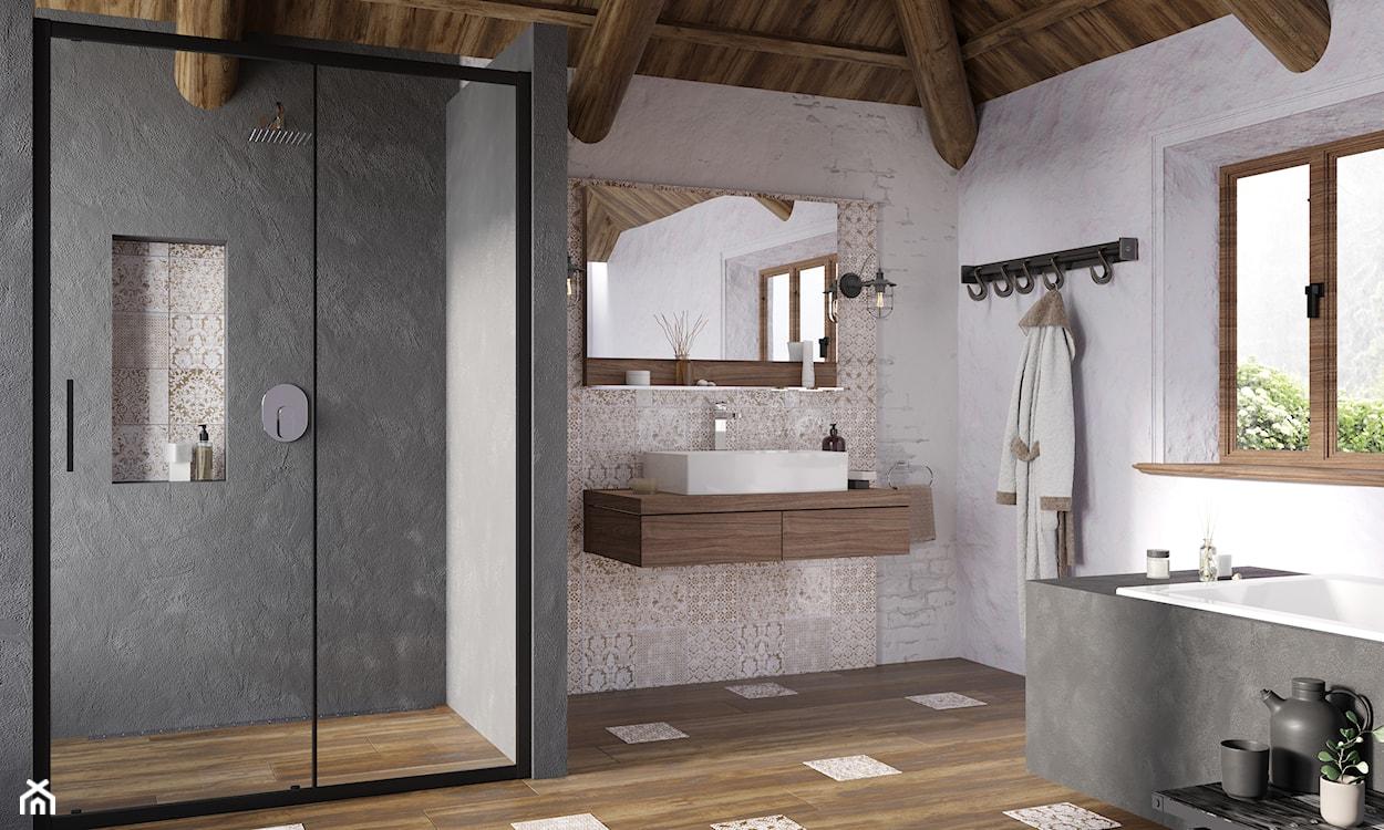 kabina industrialna w łazience rustykalnej
