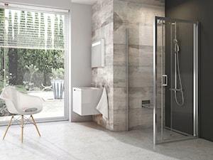 Blix - kabiny i drzwi prysznicowe - Mała czarna szara łazienka na poddaszu w bloku w domu jednorodzinnym z oknem - zdjęcie od RAVAK