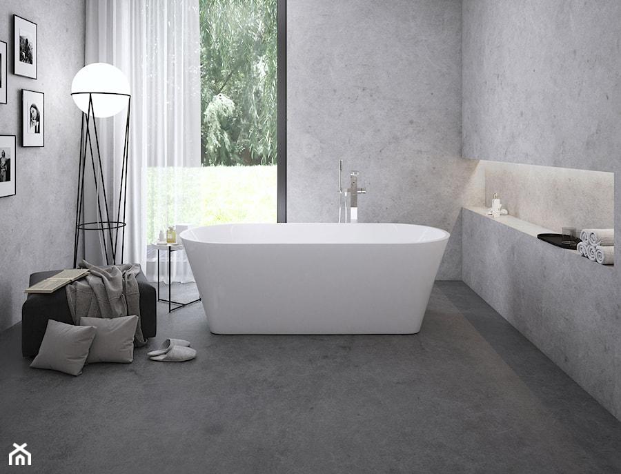 Wanny i umywalki SOLO - Średnia szara łazienka z oknem, styl minimalistyczny - zdjęcie od RAVAK