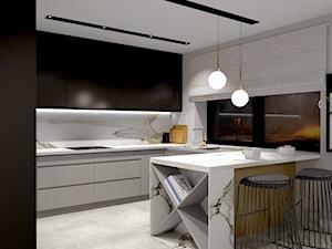 Kuchnia w satynowej czerni z calacattą - zdjęcie od Magdalena Grzyb Artmania
