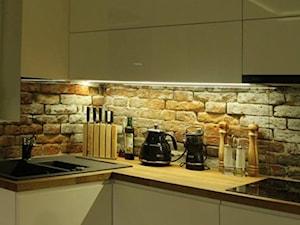 Glasco - Mała brązowa kuchnia w kształcie litery l, styl eklektyczny - zdjęcie od Glasco
