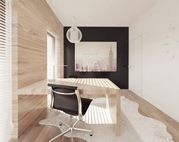 Projekt 6 - Średnie białe biuro domowe w pokoju, styl skandynawski - zdjęcie od PASS Architekci