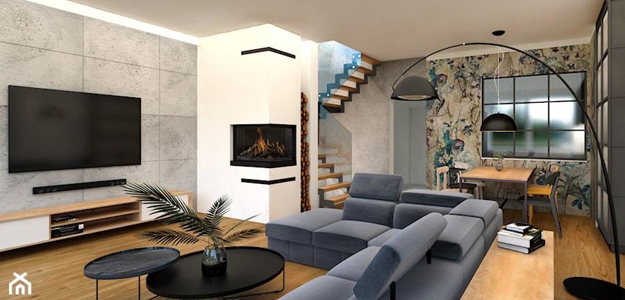 Nowoczesny salon z industrialnymi akcentami - zdjęcie od BS Studio Projektowe
