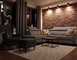 Salon z cegłą - zdjęcie od NOVI_projektowanie