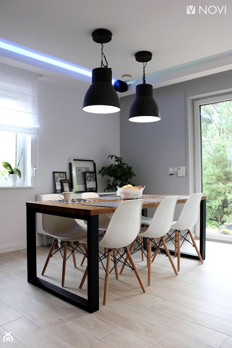 Dom jednorodzinny - Średnia szara jadalnia, styl industrialny - zdjęcie od NOVI_projektowanie