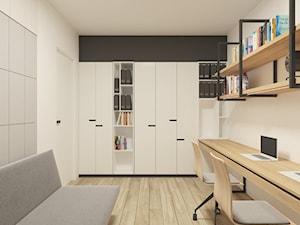 JAPANESE CUT | 2018 - Małe czarne szare białe biuro domowe kącik do pracy w pokoju, styl minimalistyczny - zdjęcie od L42 Architektura