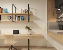 JAPANESE CUT   2018 - Średnie białe biuro domowe kącik do pracy w pokoju, styl minimalistyczny - zdjęcie od L42 Architektura