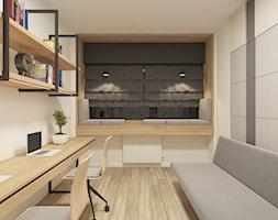 JAPANESE CUT   2018 - Średnie szare białe biuro domowe w pokoju, styl minimalistyczny - zdjęcie od L42 Architektura