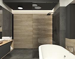 JAPANESE CUT | 2018 - Średnia czarna szara łazienka w bloku w domu jednorodzinnym bez okna, styl minimalistyczny - zdjęcie od L42 Architektura