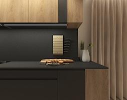 JAPANESE CUT | 2018 - Mała otwarta szara czarna kuchnia jednorzędowa z oknem, styl minimalistyczny - zdjęcie od L42 Architektura - Homebook