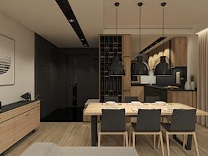 JAPANESE CUT | 2018 - Duża otwarta czarna szara jadalnia w salonie, styl minimalistyczny - zdjęcie od L42 Architektura