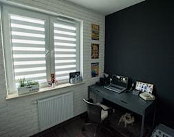 mieszkanie Warszawa - Średnie czarne białe biuro kącik do pracy w pokoju - zdjęcie od Marta Witkowska-Kozera m Art studio projektowe
