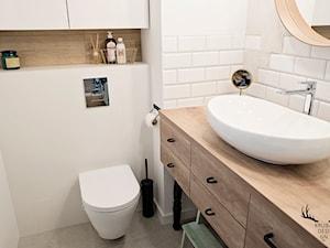 Inwestycja na Wilanowie - Średnia biała beżowa łazienka dla dzieci bez okna, styl industrialny - zdjęcie od KRUBA DESIGN