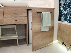 Inwestycja na Wilanowie - Szara łazienka dla dzieci, styl industrialny - zdjęcie od KRUBA DESIGN