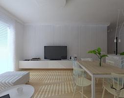 ARTYSTYCZNY ŻOLIBORZ - Duży szary salon z jadalnią, styl minimalistyczny - zdjęcie od KRUBA DESIGN