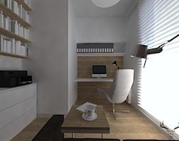 ARTYSTYCZNY ŻOLIBORZ - Średnie białe biuro kącik do pracy, styl minimalistyczny - zdjęcie od KRUBA DESIGN