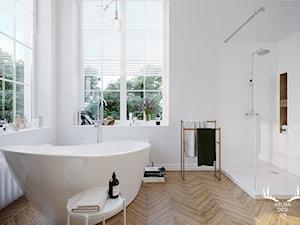 ŁAZIENKA DLA MASSI - Średnia biała łazienka na poddaszu w bloku w domu jednorodzinnym z oknem, styl minimalistyczny - zdjęcie od KRUBA DESIGN