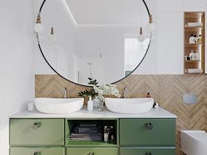ŁAZIENKA DLA MASSI - Mała biała łazienka na poddaszu w bloku w domu jednorodzinnym z oknem, styl minimalistyczny - zdjęcie od KRUBA DESIGN
