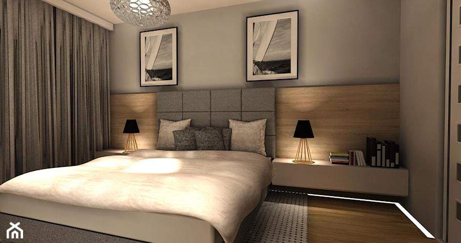 Biały połysk+dab Hamilton Egger - Średnia szara sypialnia małżeńska, styl nowoczesny - zdjęcie od AJ-Strefa Kuchni
