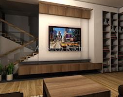 Biały połysk+dab Hamilton Egger - Mały beżowy salon, styl nowoczesny - zdjęcie od AJ-Strefa Kuchni - Homebook