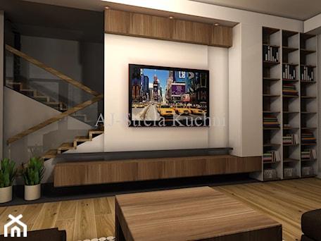 Aranżacje wnętrz - Salon: Biały połysk+dab Hamilton Egger - Mały beżowy salon, styl nowoczesny - AJ-Strefa Kuchni. Przeglądaj, dodawaj i zapisuj najlepsze zdjęcia, pomysły i inspiracje designerskie. W bazie mamy już prawie milion fotografii!
