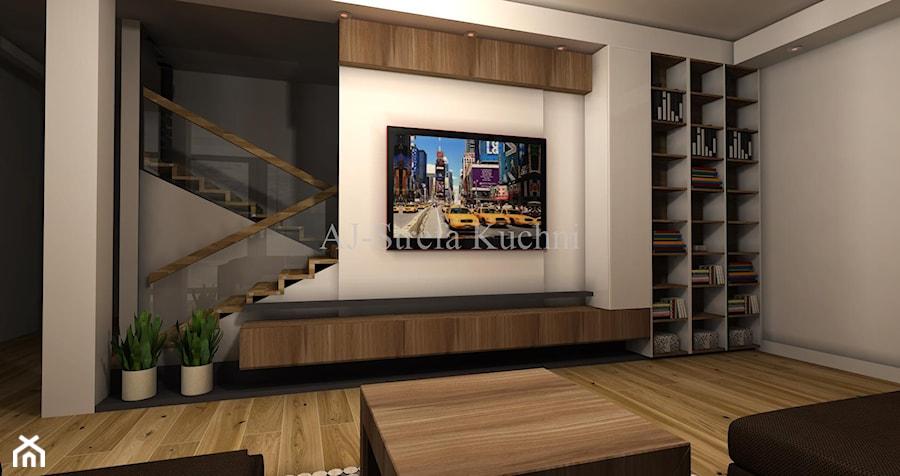 Biały połysk+dab Hamilton Egger - Mały beżowy salon, styl nowoczesny - zdjęcie od AJ-Strefa Kuchni