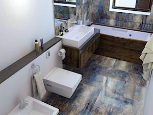 Aranżacje - Mała biała brązowa łazienka z oknem - zdjęcie od Ceramstic