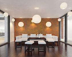 Farba o efekcie rdzy - Średnia otwarta szara pomarańczowa jadalnia w salonie - zdjęcie od Francesco GUARDI Collezione