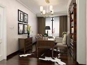 Farba o efekcie aksamitu - Średnie szare biuro pracownia w pokoju, styl tradycyjny - zdjęcie od Francesco GUARDI Collezione