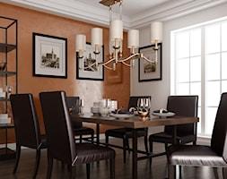 Stiuk wapienny - Średnia zamknięta biała pomarańczowa jadalnia jako osobne pomieszczenie, styl tradycyjny - zdjęcie od Francesco GUARDI Collezione