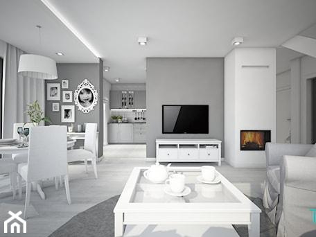 Aranżacje wnętrz - Salon: Classic always fashionable - Średni szary biały salon z kuchnią z jadalnią, styl klasyczny - TEMA Architekci. Przeglądaj, dodawaj i zapisuj najlepsze zdjęcia, pomysły i inspiracje designerskie. W bazie mamy już prawie milion fotografii!