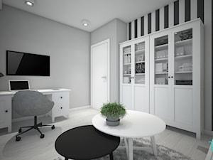Classic always fashionable - Średnie czarne szare białe biuro domowe w pokoju, styl klasyczny - zdjęcie od TEMA Architekci