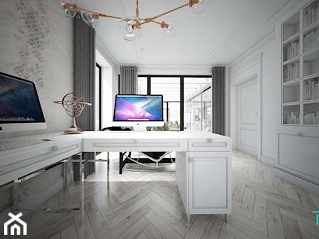 Aranżacje wnętrz - Biuro: Classic beauty - Średnie szare białe biuro domowe w pokoju, styl klasyczny - TEMA Architekci. Przeglądaj, dodawaj i zapisuj najlepsze zdjęcia, pomysły i inspiracje designerskie. W bazie mamy już prawie milion fotografii!